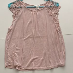 Blush Pink Lace Sleeve Shell Top